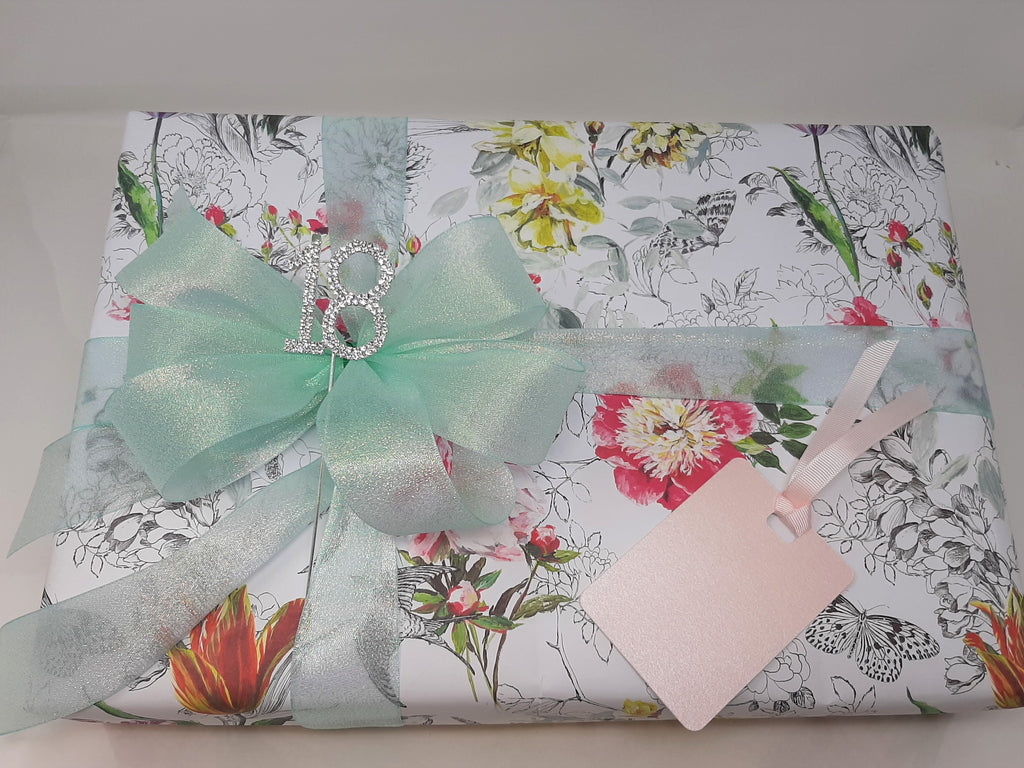 Floral Wrap and Aqua Ribbon and Bow Pack
