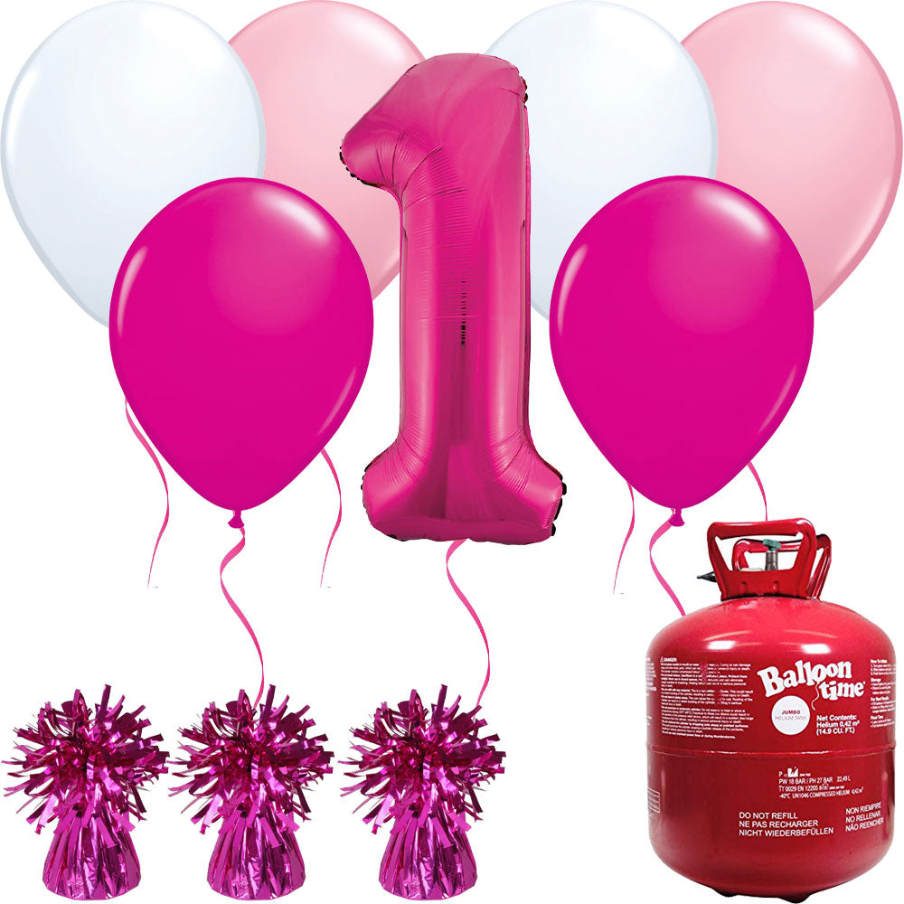 Happy Birthday Pink Balloons And Helium Gas Canister Pack
