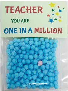 One in a Million Sweet Gift for Teachers (Blue - Stars on Green Card)
