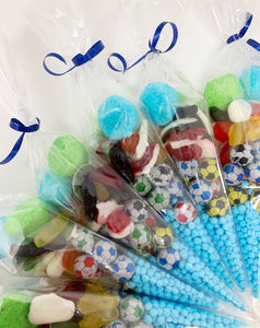 Pre Filled Football Themed Sweet Cones A040