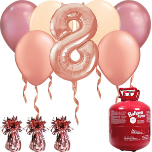 Happy Birthday Rose Gold Balloons And Helium Gas Canister Pack