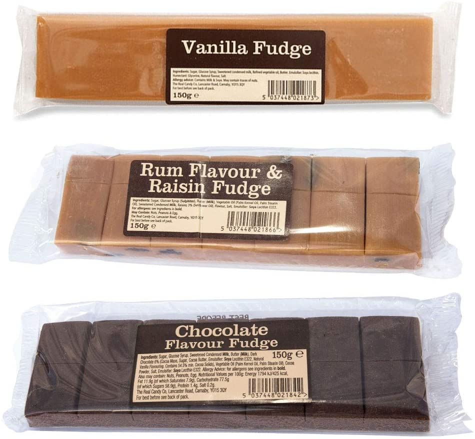 Traditional Fudge Assortment Gift Box (Vanilla Fudge, Chocolate Flavour Fudge and Rum & Raisin Fudge)