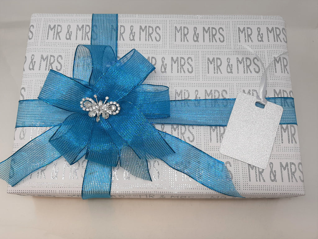 Mr and Mrs Wrap and Turquoise Stripe Ribbon and Bow Pack