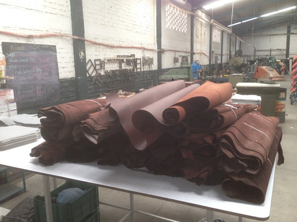 Leather hides waiting to become bags