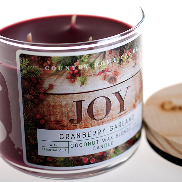 Cranberry Garland 3 Wick Coconut Wax Candle 14.5 oz