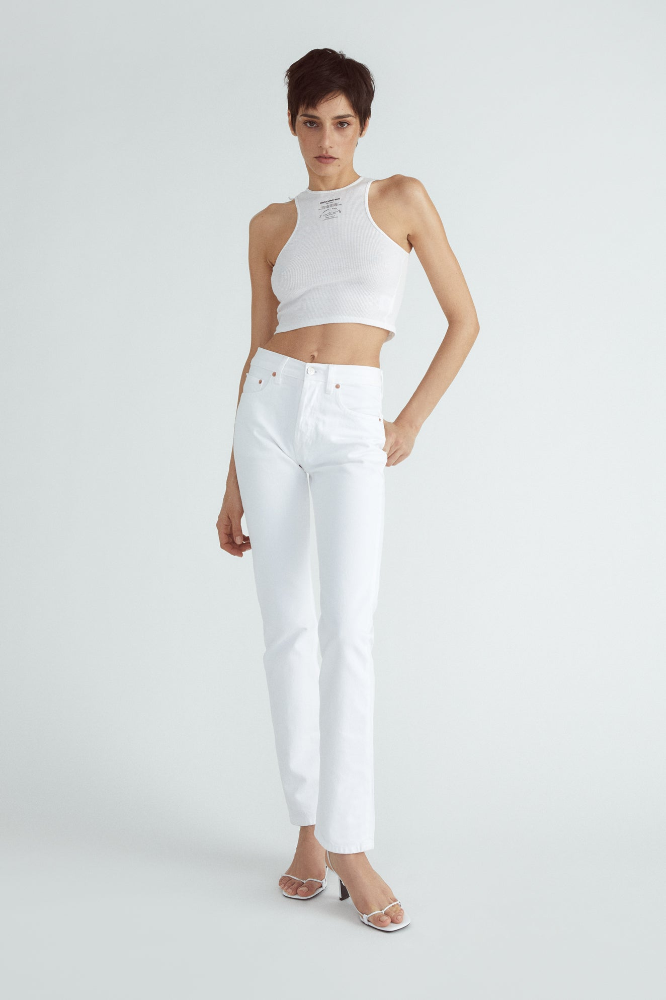 BASIC TANK CROP WHITE