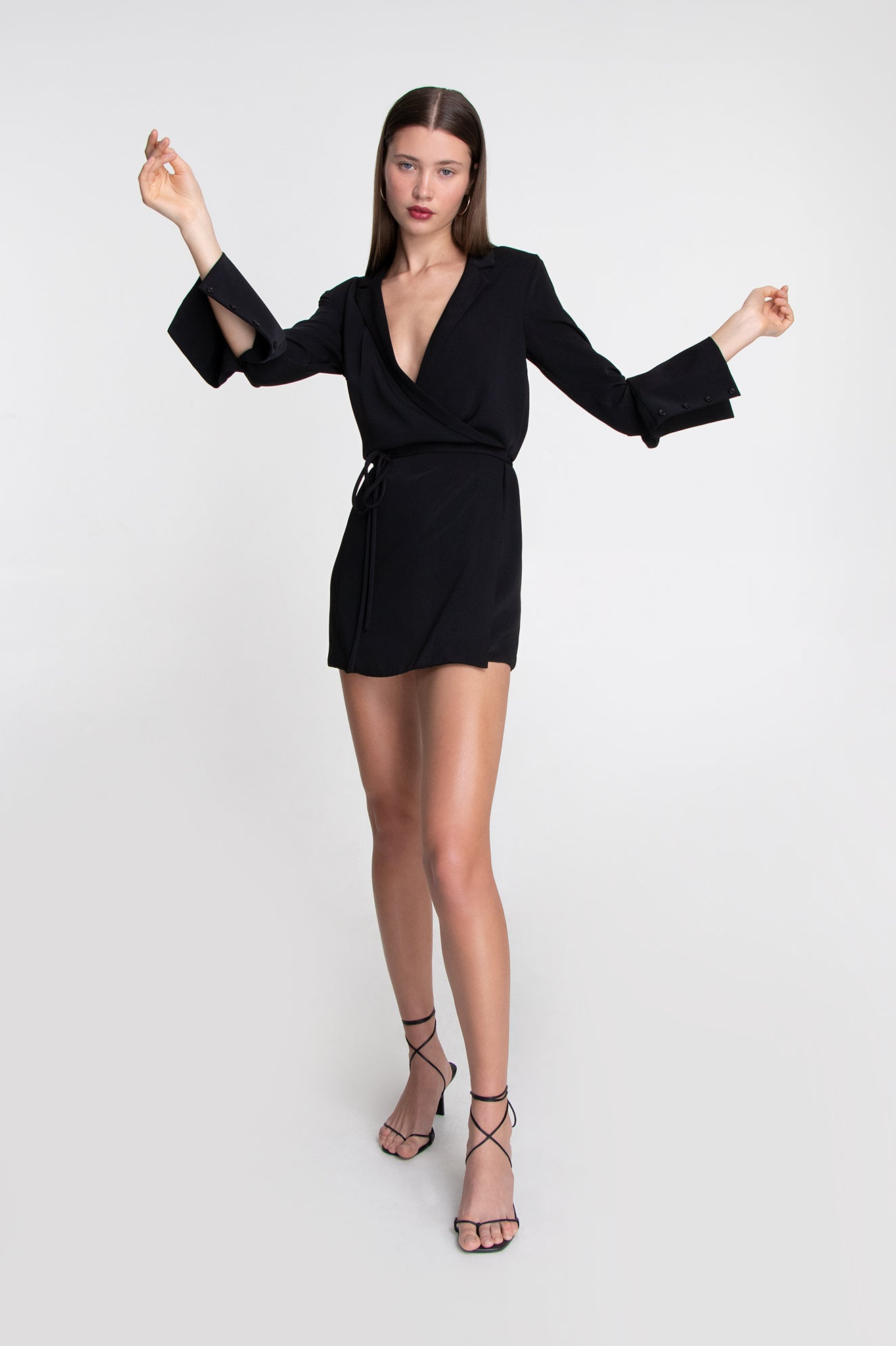 BOXY WRAP DRESS BLACK