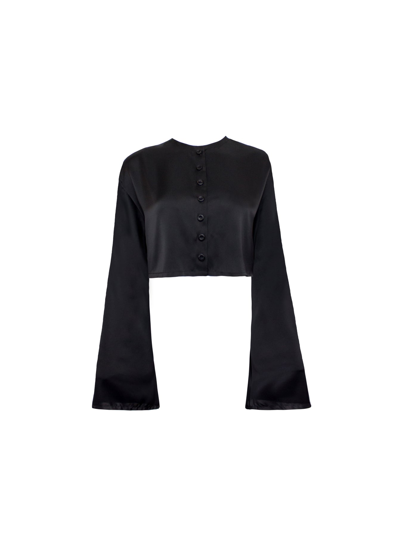 DROP SHOULDER REVERSIBLE BLOUSE BLACK