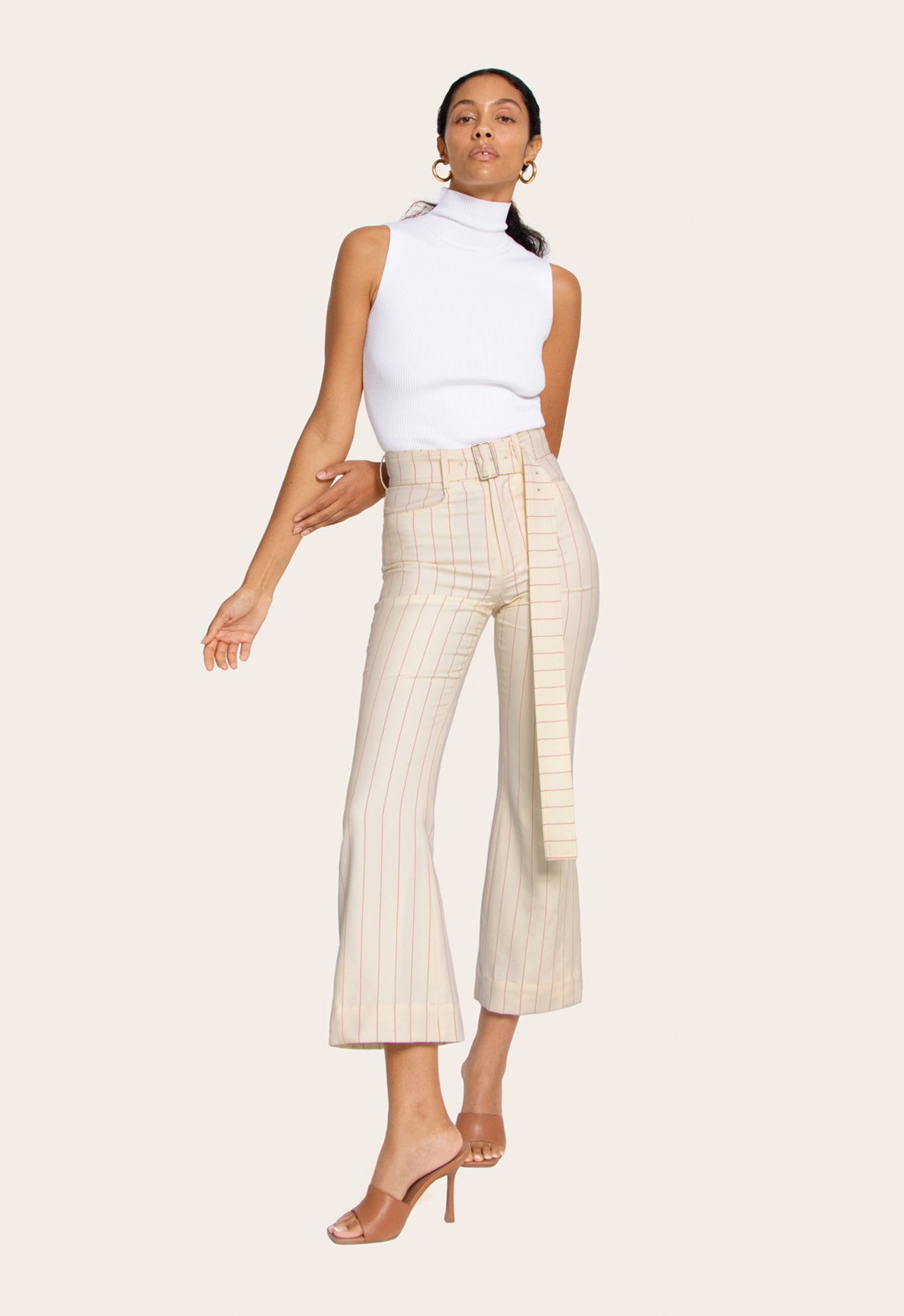 FLARE CROP PANT WOOL CREAM