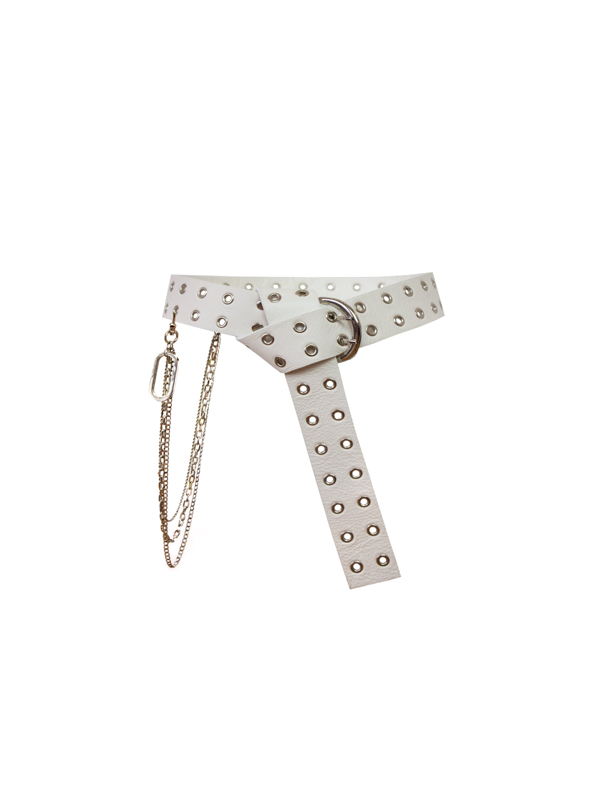 EXCLUSIVE LEATHER BELT W/ CHAIN SET OFF-WHITE