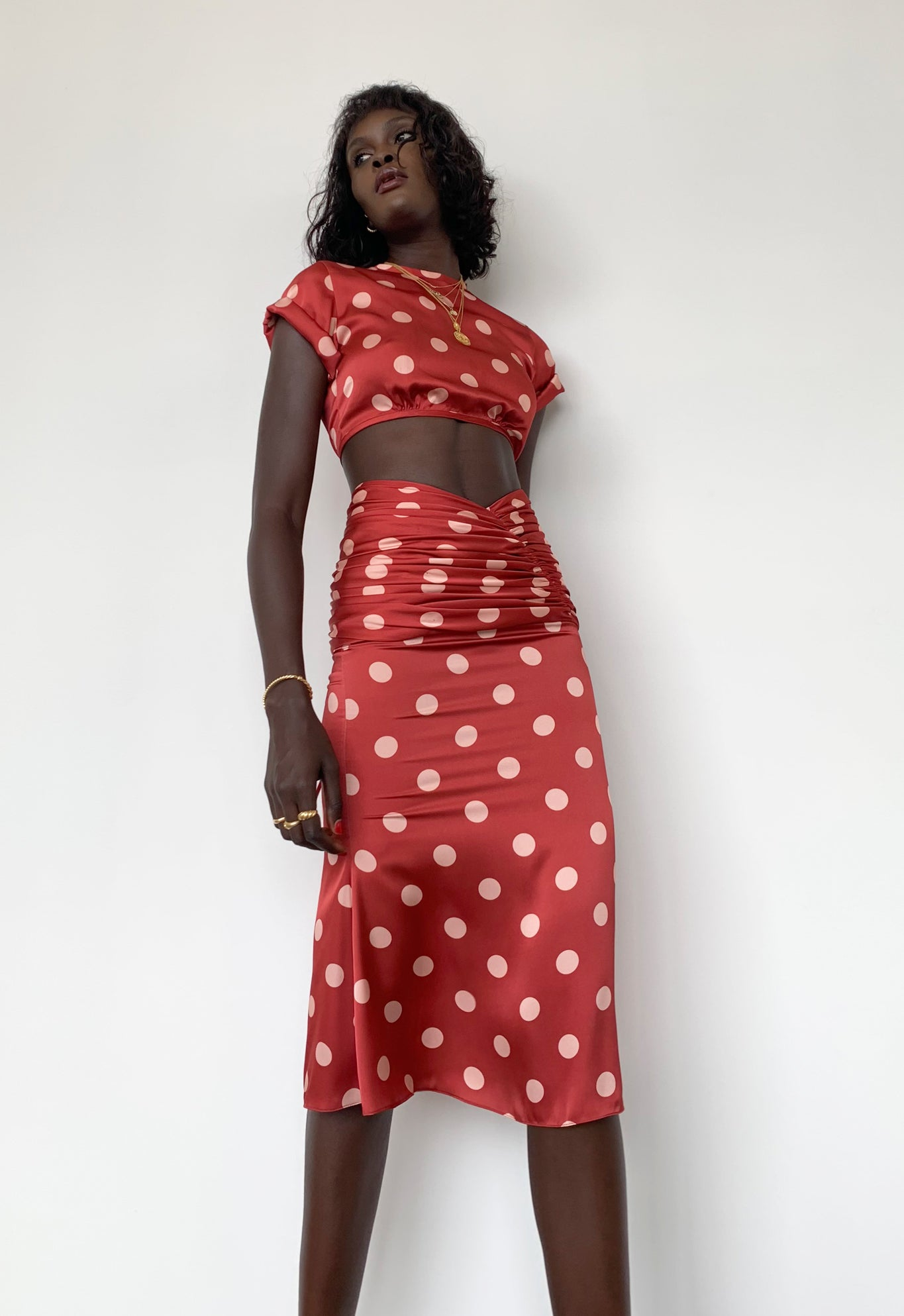 EXCLUSIVE ROMANTIQUE SKIRT POLKA DOT RED/PINK