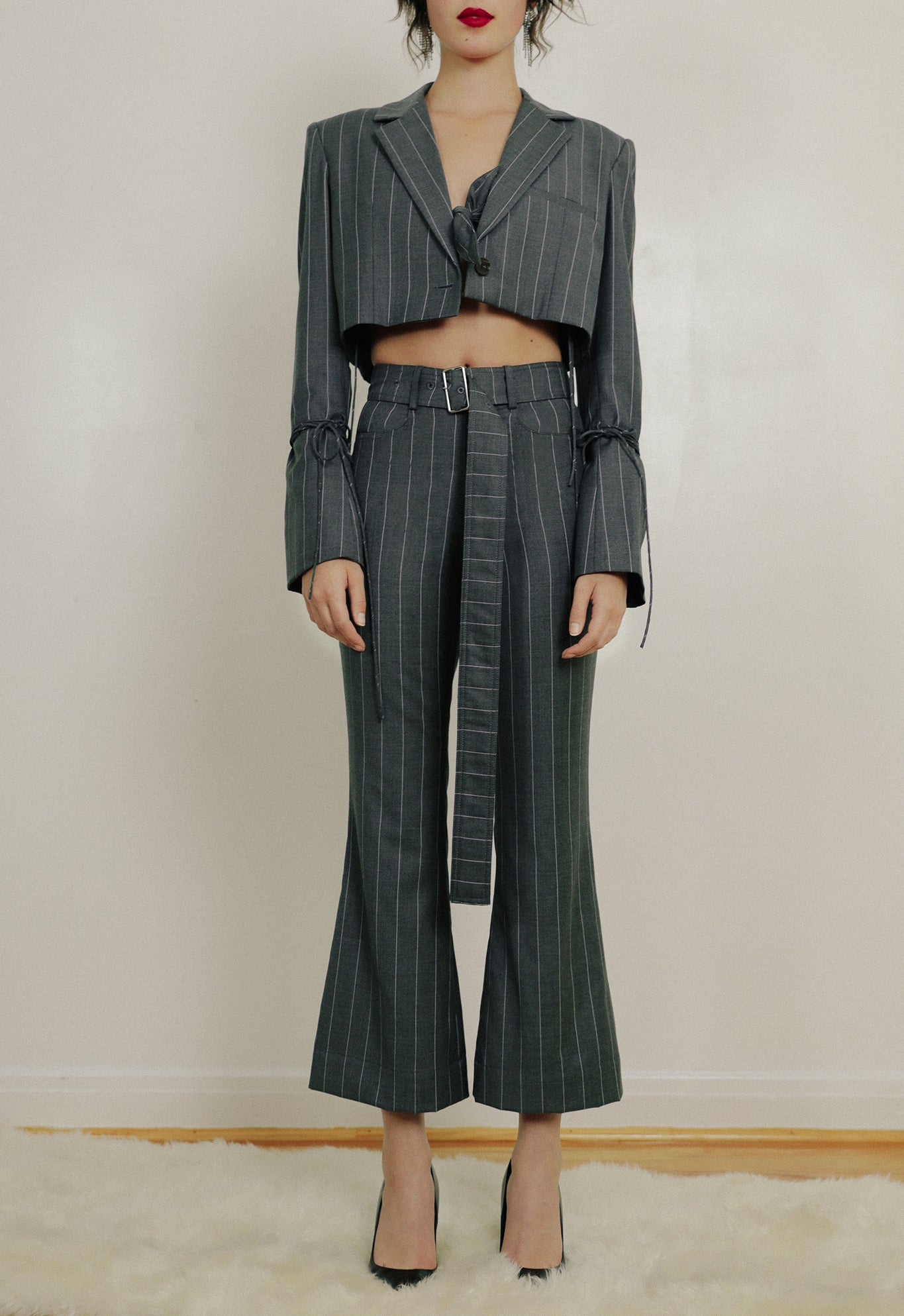 FLARE CROP PANT WOOL CHARCOAL