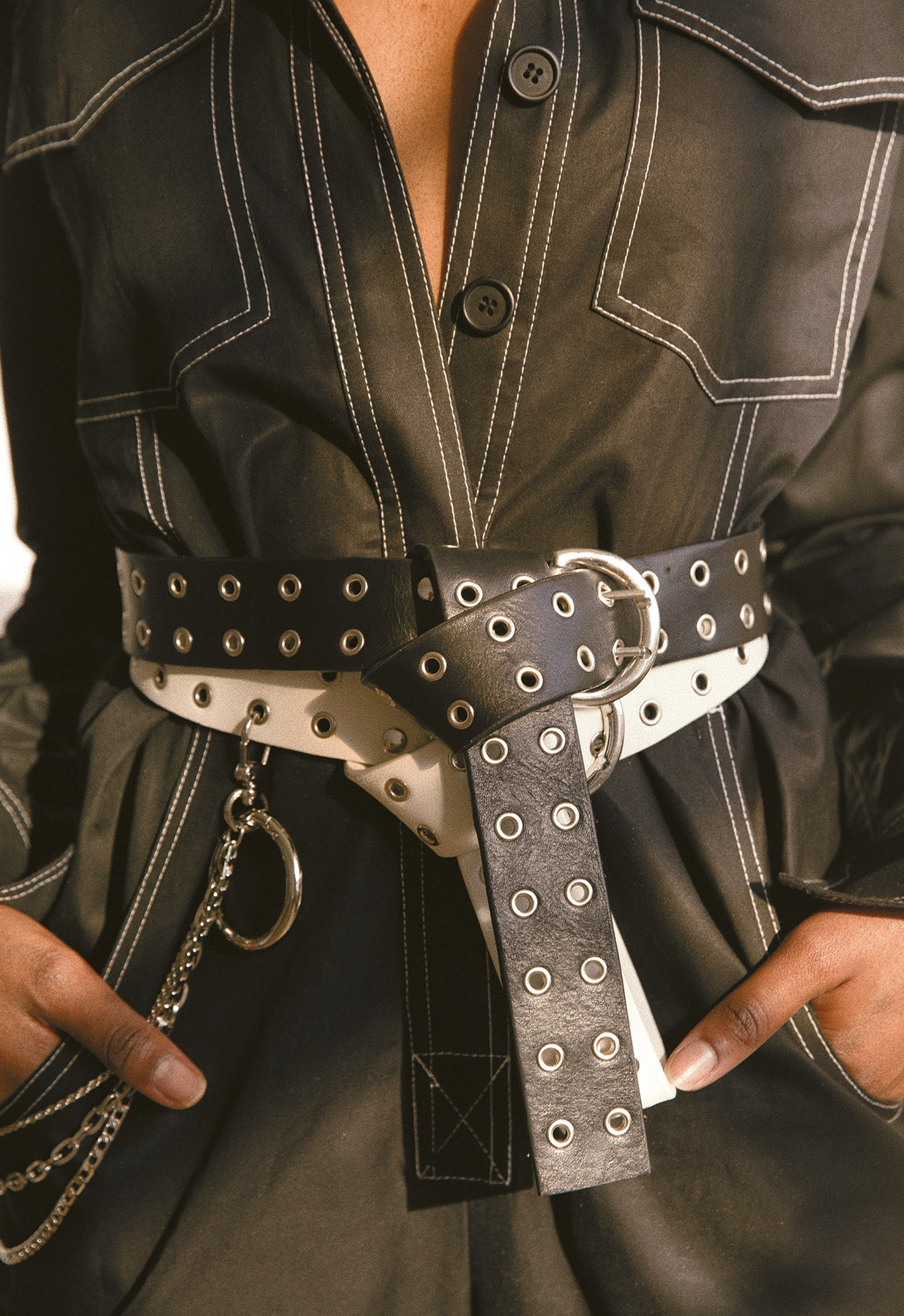LEATHER BELT W/ CHAIN SET BLACK