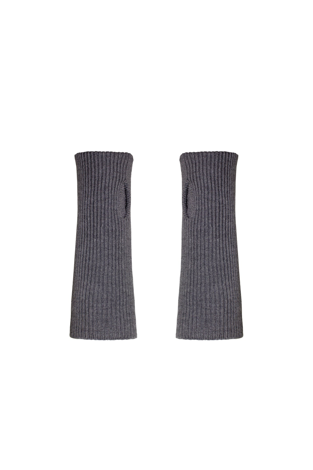 CHUNKY KNIT TUBE GLOVES SLATE GREY
