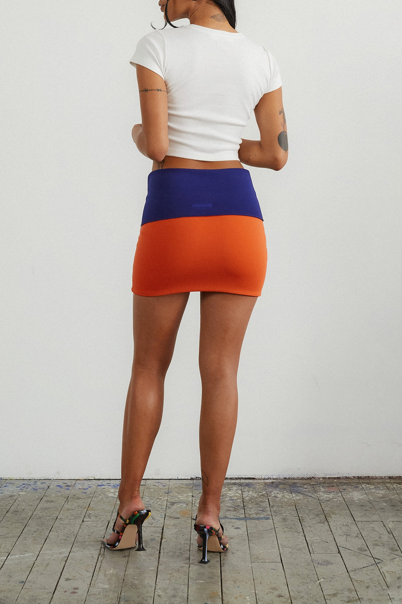 COLORBLOCKED FOLDOVER WONDERLAND MINI SKIRT