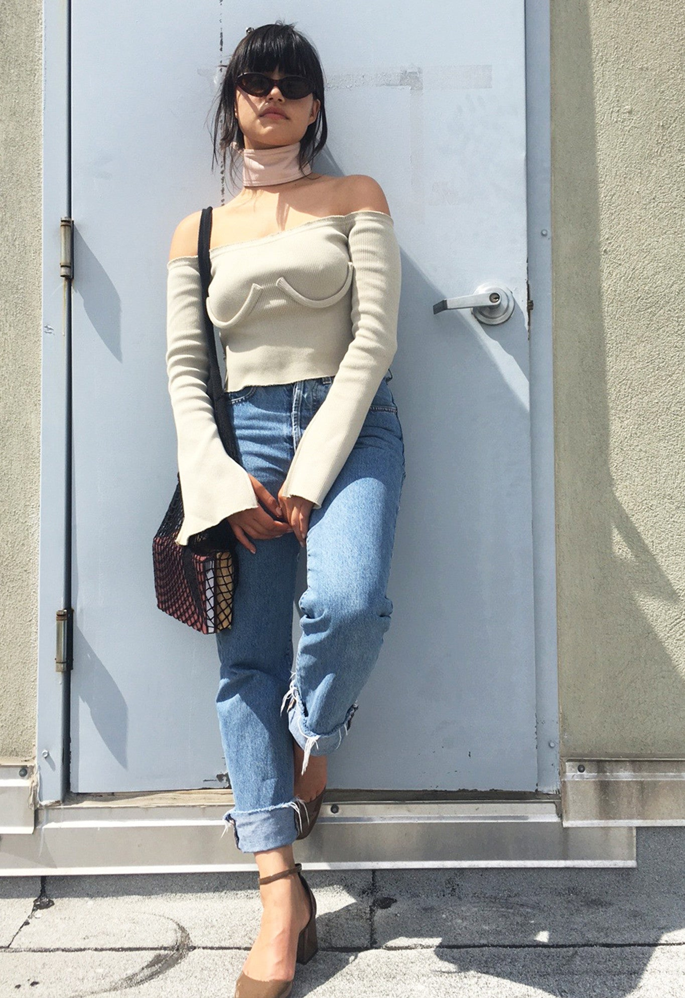 OFF SHOULDER KNIT NUDE