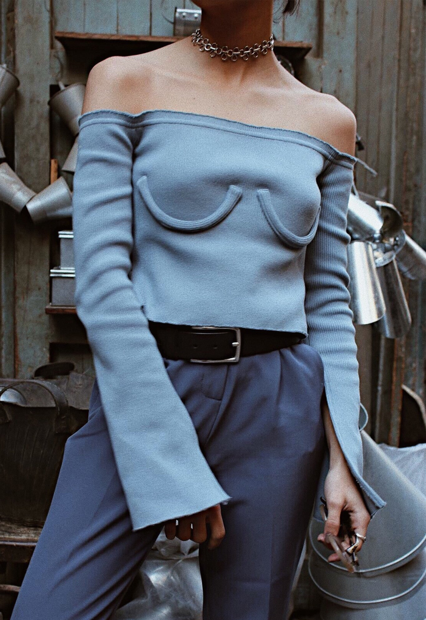 OFF SHOULDER KNIT BLUE
