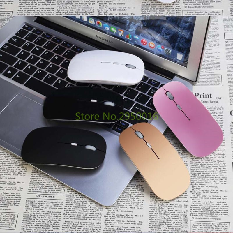 2.4G Wireless USB Rechargeable Mouse Silent Mute Optical Mouse 4 Buttons Adjustable Laptop Computer Gaming Mice Multicolor C26