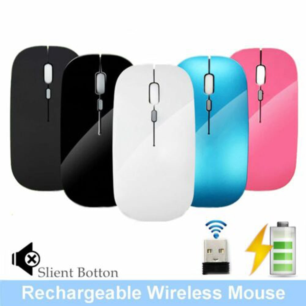 New 2.4GHz Rechargeable Wireless Mouse Silent Button Ultra Thin USB Optical Mice for Apple office gaming mouse