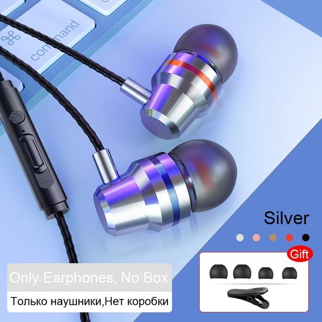TOMKAS Wired Earbuds Headphones 3.5mm In Ear Earphone Earpiece With Mic Stereo Headset 5 Color For Samsung Xiaomi Phone Computer
