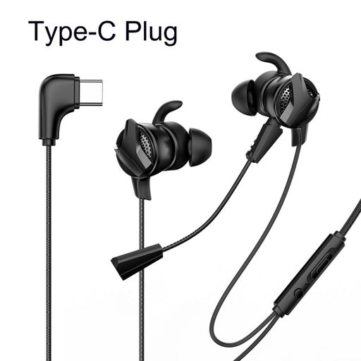 ASXA2 In-Ear Earphone 3.5mm Typc C Wired Headset for PUBG Gamer Gaming Headphones Hi-Fi Earbuds With Dual Microphone Detachable
