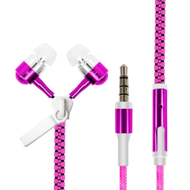 ASXB3 Glowing Zipper Headphones Luminous Headset Sport Earbuds Music Wired Earphones for iPhone Samsung Xiaomi 3.5mm headset Plug