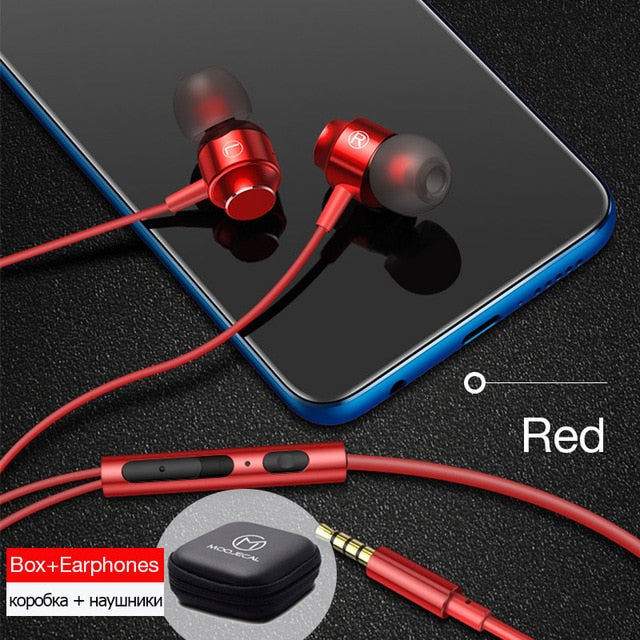 MOOJECAL In ear Earphone Wired Super Bass Sound Earbud Headphone with Mic for Phones Samsung Xiaomi Iphone Apple ear phone