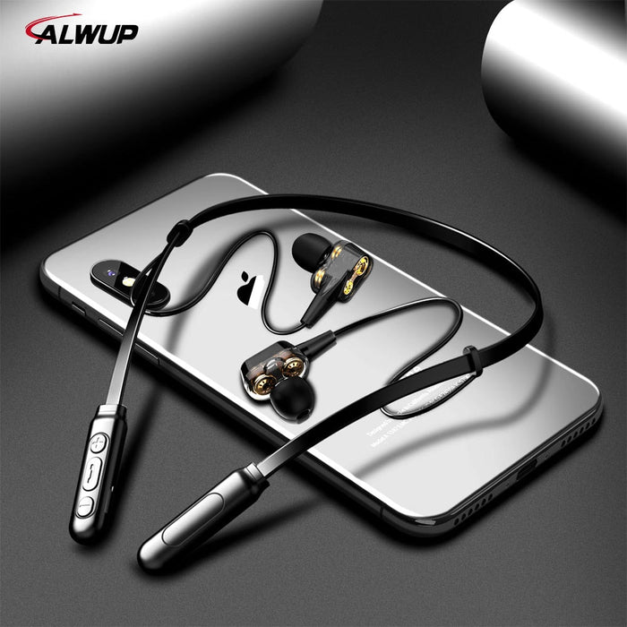 ASX7 ALWUP G01 Bluetooth Earphone Wireless Headphones Four Unit Drive Double Dynamic Hybrid Deep Bass Earphone for Phone with mic 5.0