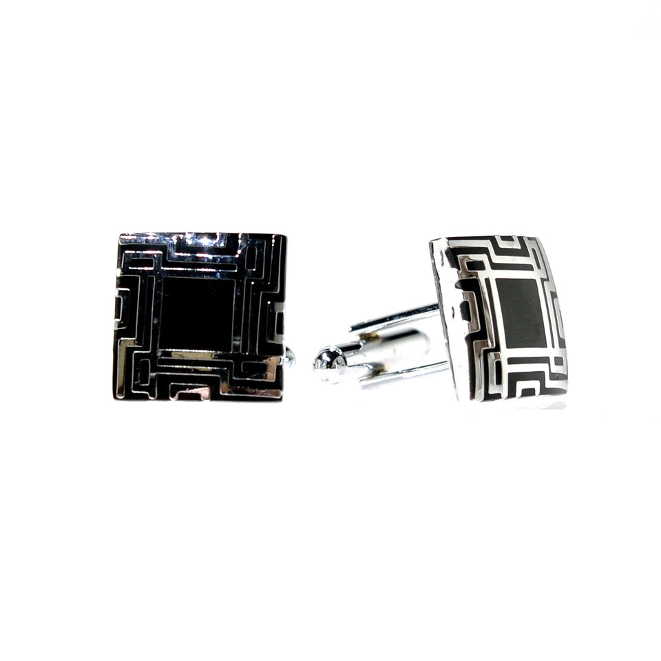 Square Two Tone Cuff Links *Only Black Left