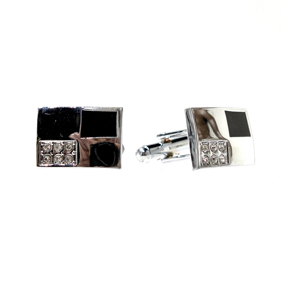 Rectangle Two Tone Cuff Links *Only Silver Left