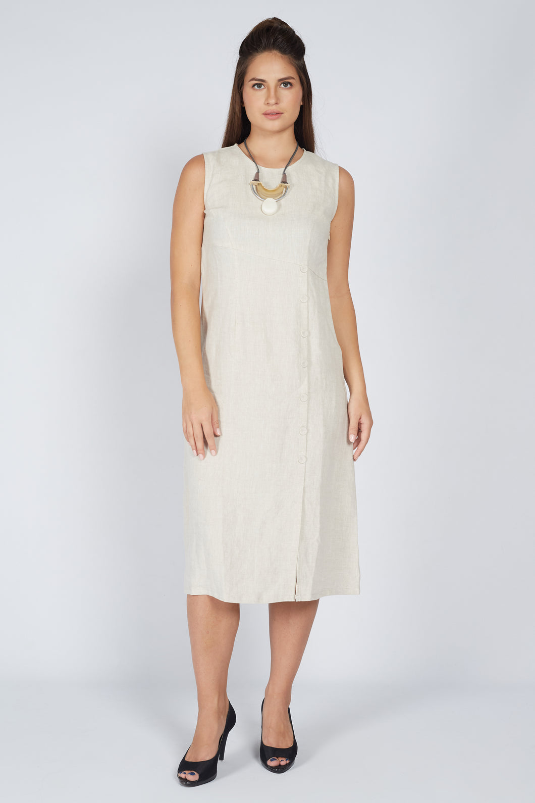 Midi Dress with Button Detail Sand