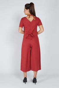 Tie Jumpsuit Brick Red