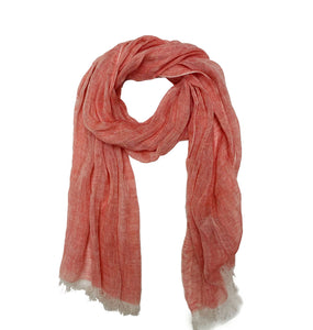 Solid Linen Scarf with Tassels Coral