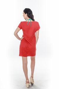 Asymmetric Seam Dress Rust