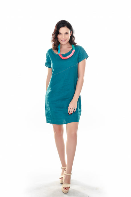 Asymmetric Seam Dress Teal