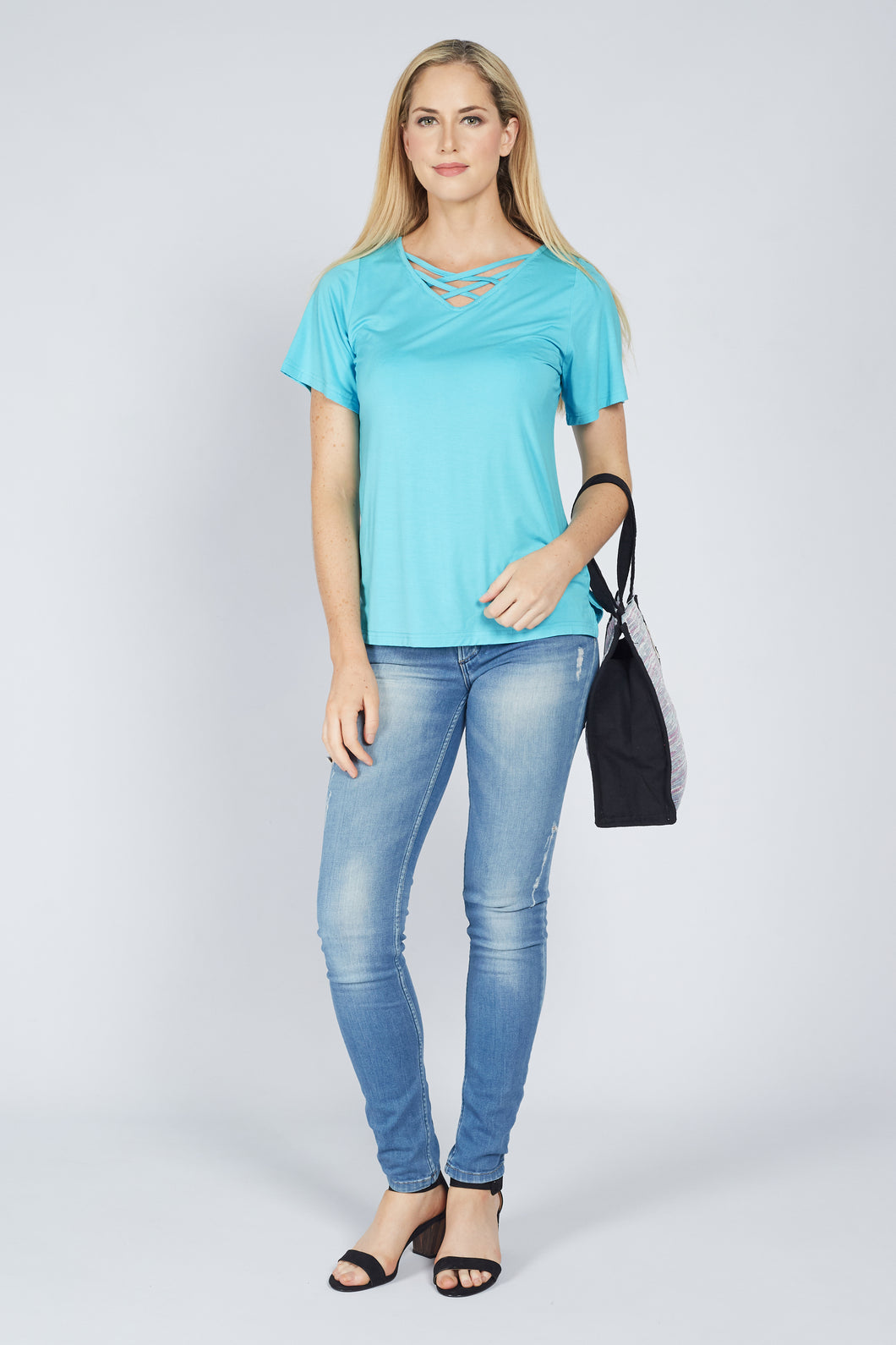 Cross Front Tee Aqua Blue