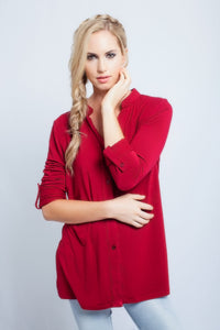 Long Sleeve Blouse Red