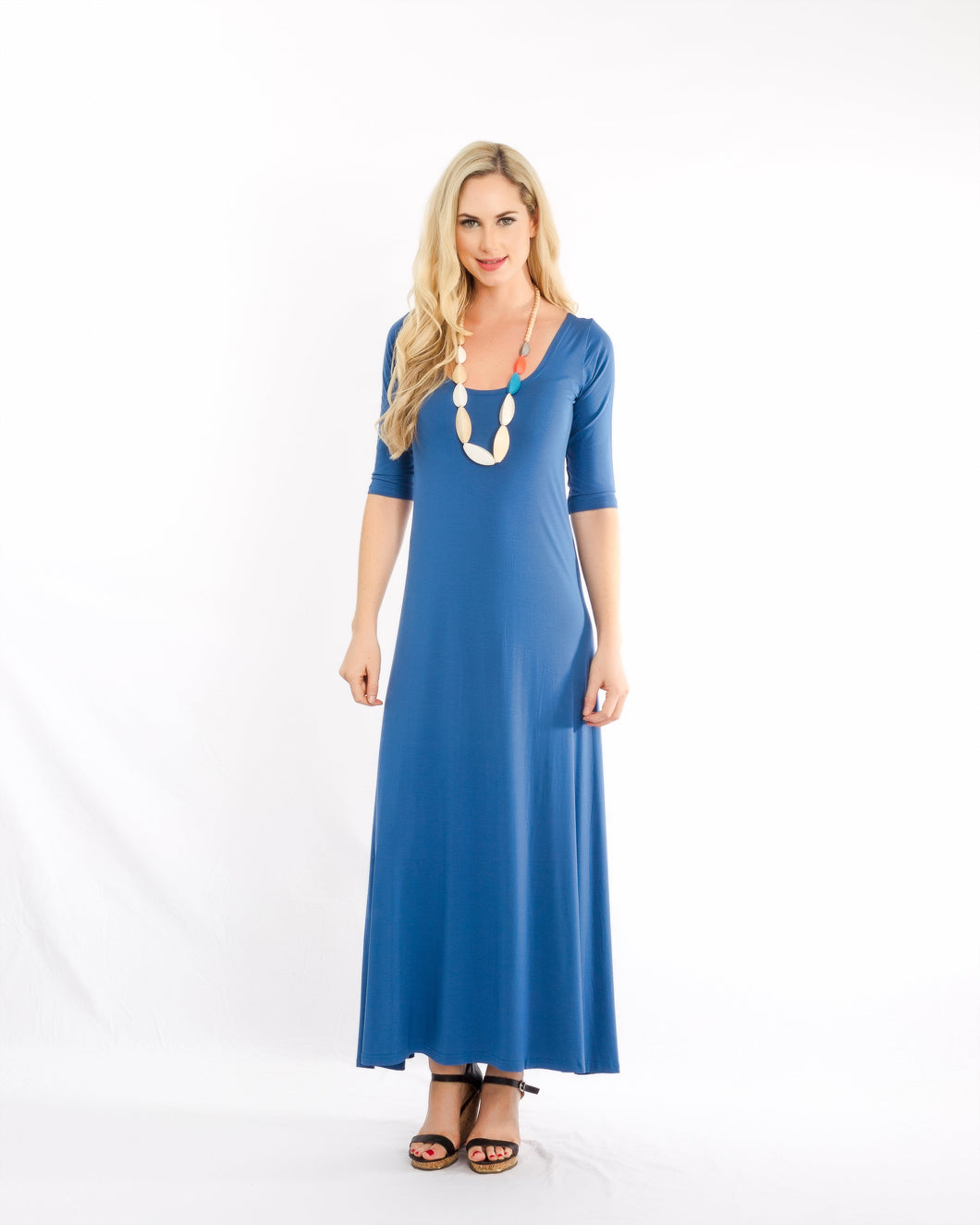 Maxi With Sleeve Dress Blue