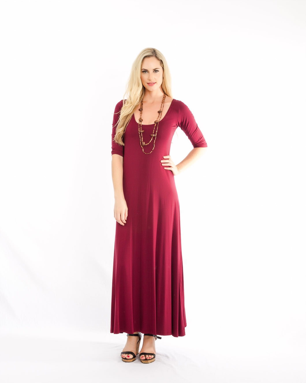 Maxi With Sleeve Dress Red