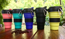 Load image into Gallery viewer, Collapsible Coffee Cup Black Design 550ml (C1)