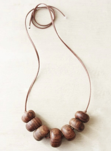 Woodfolk Natural Wood Hazel Bead Necklace