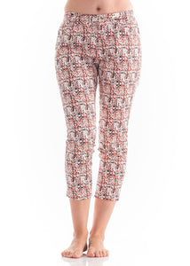 Front Pkt 7/8 Pants Orange Print