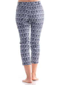Printed 7/8 Pants with Back Welt Pocket Navy
