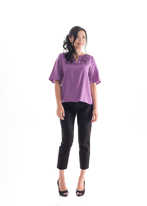 Flare Sleeve Top Purple