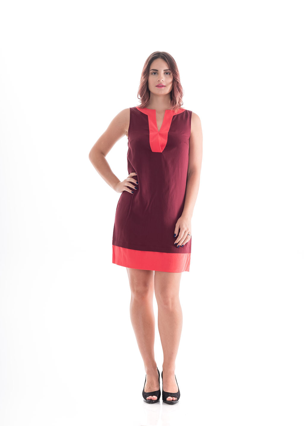 Two Tone Dress Wine & Coral