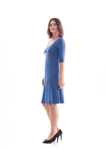 3/4 Sleeve Dress Blue