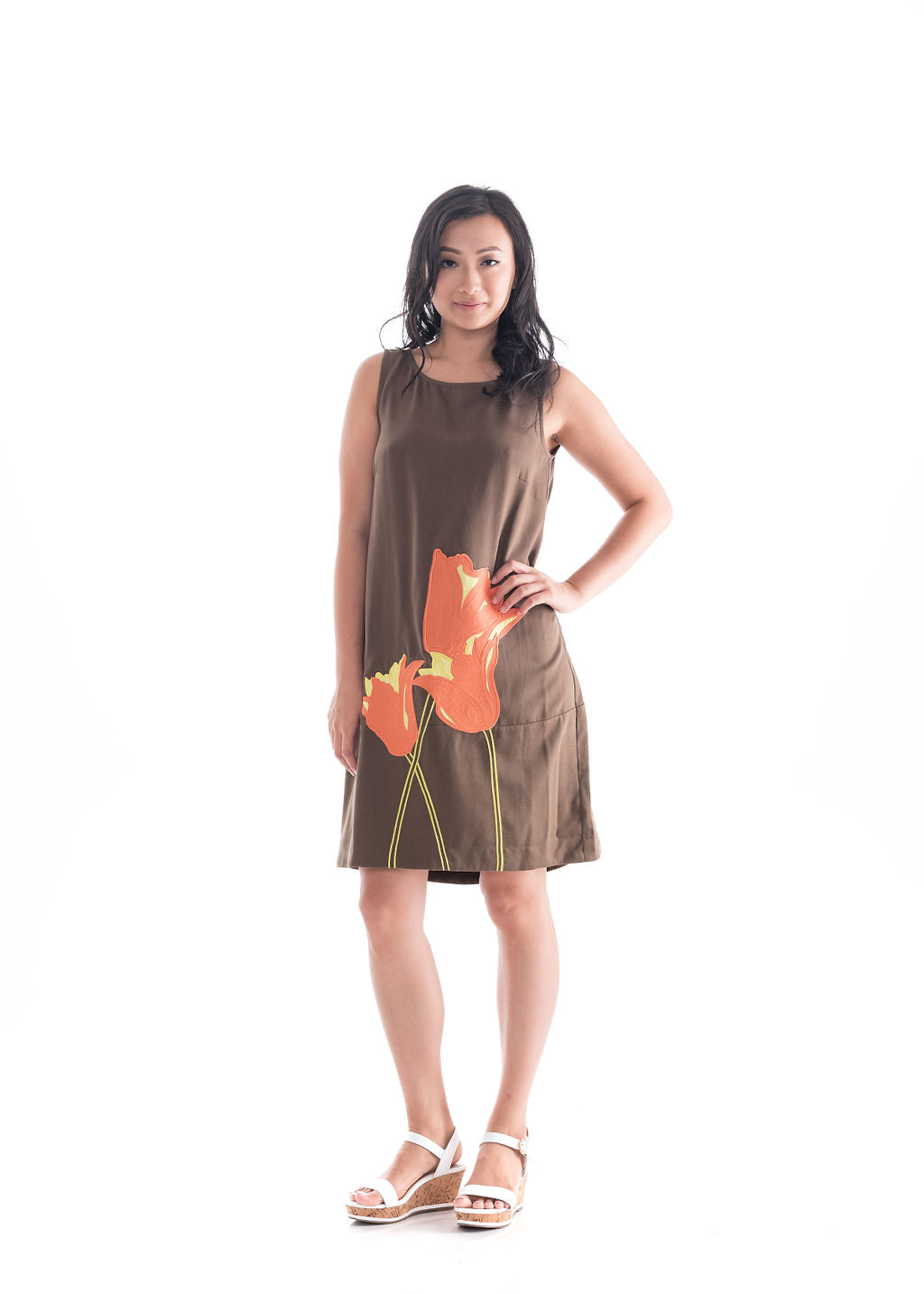 Applique Cocoon Dress Khaki