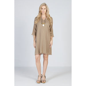 Raw Edge Dress Ochre