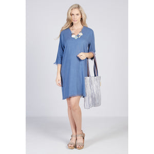 Raw Edge Dress Blue