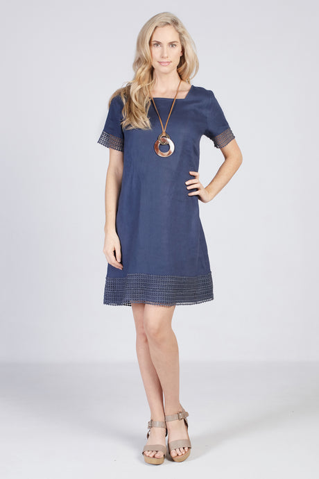 Lace Overlay Dress Navy